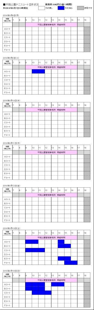 9/8(月)~9/14(日) テニスコート予約状況