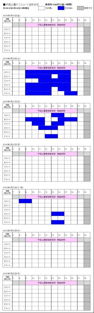 9/19(金)~9/25(木) テニスコート予約状況