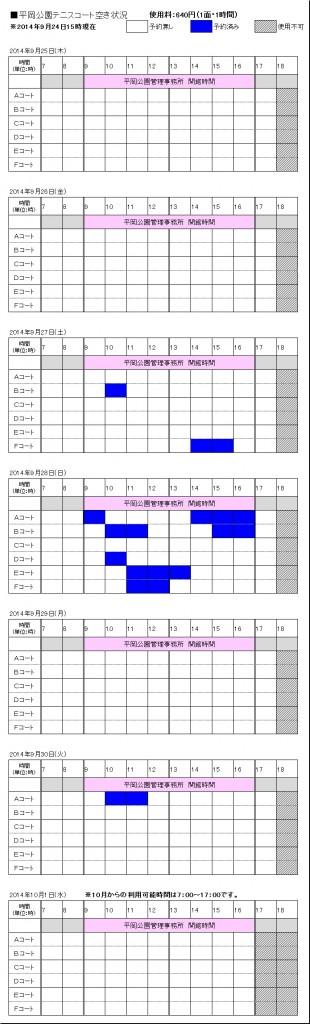 9/25(木)~10/1(水) テニスコート予約状況