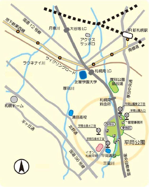 平岡公園周辺マップのイラスト