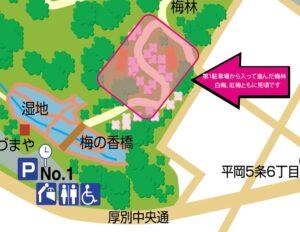 第1駐車場から梅林までの地図