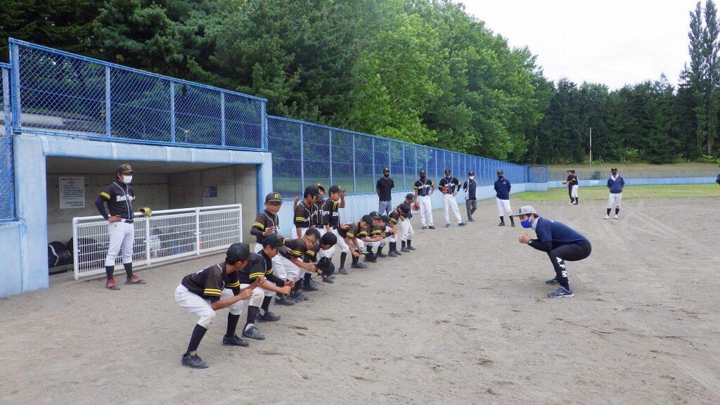 野球教室 チーム教室 骨盤トレーニングの様子